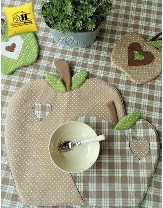 Tovaglietta americana a forma di mela Imbottita Angelica Home & Country Collezione Mele in Beige Decoro Scozzese: