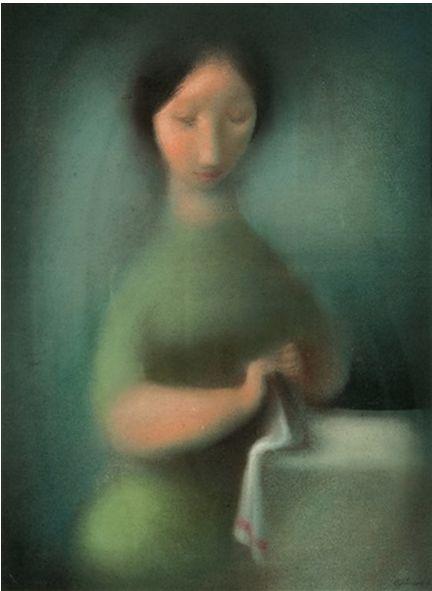 Illustration by Ludmila Jirincova-Novakova (Czech, 1912–1994), 1950, Švadlenka, gouache, pastel, color chalk.
