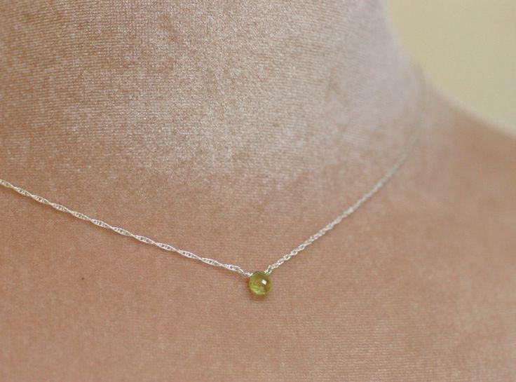 Tiny garnet necklace, January birthstone necklace, green garnet necklace, dainty necklace, tiny gemstone necklace - Natalie by ILoveHoneyWillow on Etsy https://www.etsy.com/listing/174379038/tiny-garnet-necklace-january-birthstone