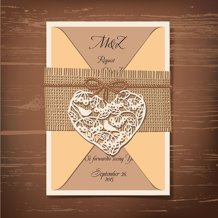 Wedding invitation in rustic style.