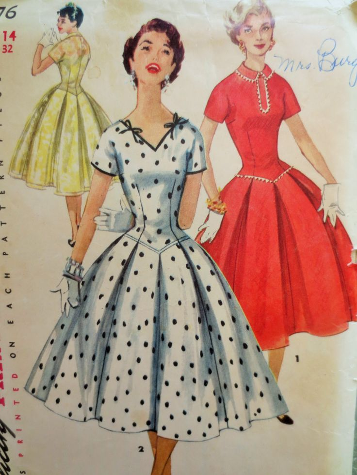 Vintage Simplicity 1076 Sewing Pattern, 1950s Dress Pattern, Rockabilly Dress, Full Skirt, Bust 32, 1950s Sewing Pattern, 50s Fifties 1950s by sewbettyanddot on Etsy