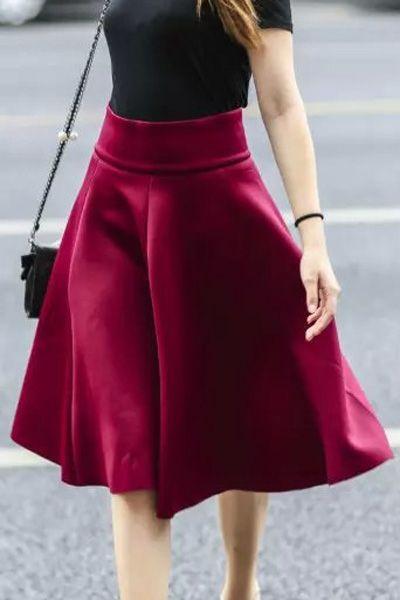 Solid Color Flouncing High Waisted Skirt
