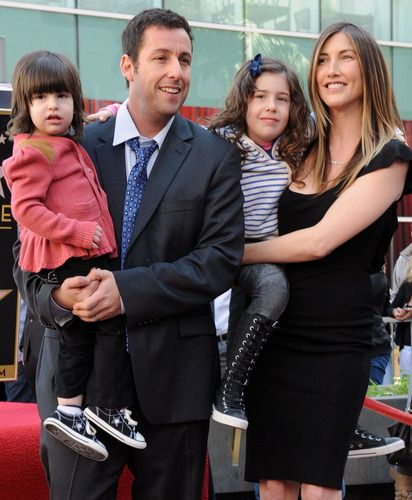 Adam Sandler and daughters Sunny and Sadie with wife Jackie