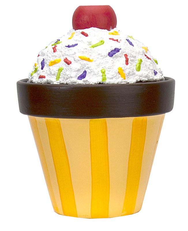"""Cupcake Treat Pot A terra cotta """"cupcake"""", iced with Snow-Tex and colored with Patio Paints, houses treats for a birthday party."""