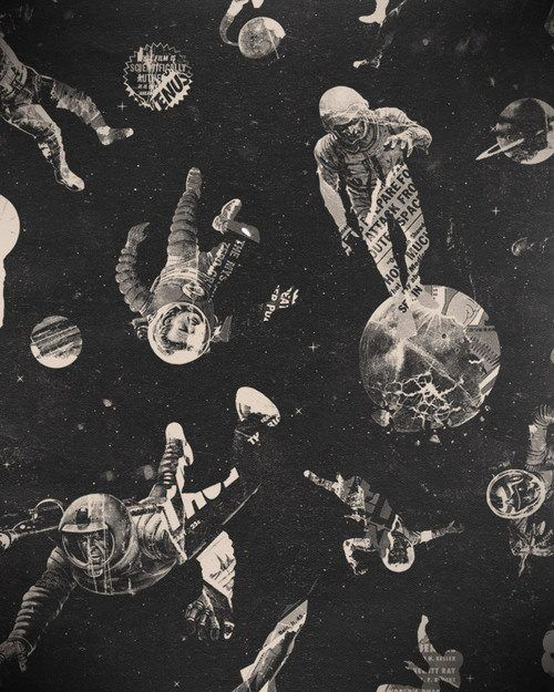 Space collage idea from newspaper. (Composition, depth lesson)