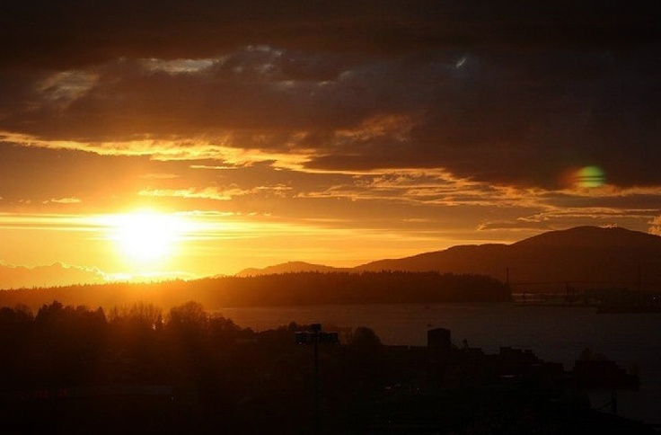 Sunset in the Vancouver Heights district area. Lions Gate Bridge in the background. Vancouver, British Columbia, Canada. #vancouver #heights #district #area #neighbourhood #lions #gate #burrard #west #coast #mountains #british #columbia #bc #canada #real #estate