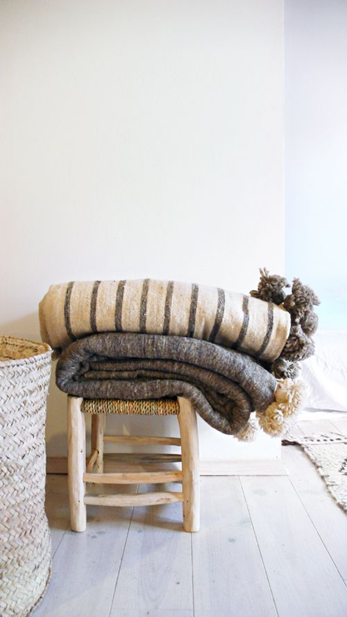 Image of Moroccan POM POM Wool Blanket Grey -★-