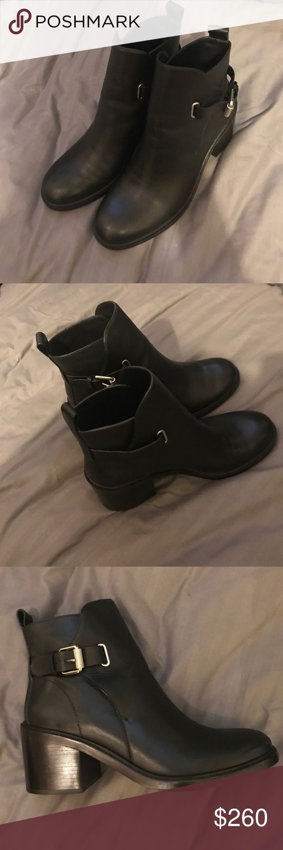 ALLSAINTS LEATHER BOOTS Black leather booties with a 3 inch heel. Lightly worn. All Saints Shoes Ankle Boots & Booties