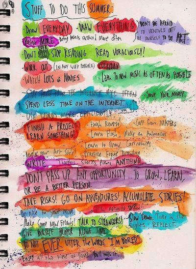 Journals Inspiration, Add Watercolors, Art Journal Pages, Art Journals, Journals Ideas, Summer Lists, Journaling, Water Colors, Watercolors Painting