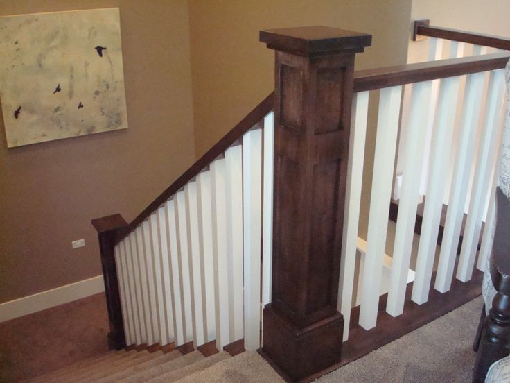 Craftsman Railing Dark Stained Posts And Painted White