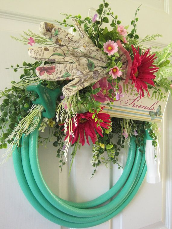 Garden Hose Wreath, Spring Wreath, Summer Wreath, Mothers Day Wreath, Front  Door