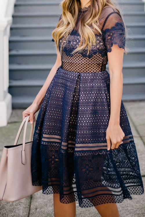 Self-Portrait Navy Lace dress