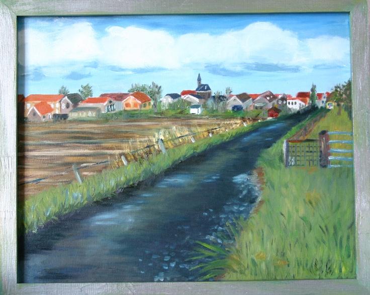 Het Straatje van Stad, schilderij van mezelf, destijds de wedstrijd er mee gewonnen. Soort variatie op het Laantje van Hobbema. Je kijkt hier op Stad aan 't Haringvliet vanaf de Zeedijk.
