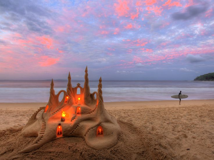 Castles in the Sand, Noosa, Australia. Every night a variation of this castle is built by hand in Summer outside Bistro C! A little bit of magic!