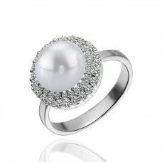 White Plated Alloy Pearl Bead Rings PLR007