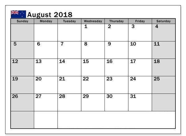 August 2018 Calendar NZ August 2018 Calendar