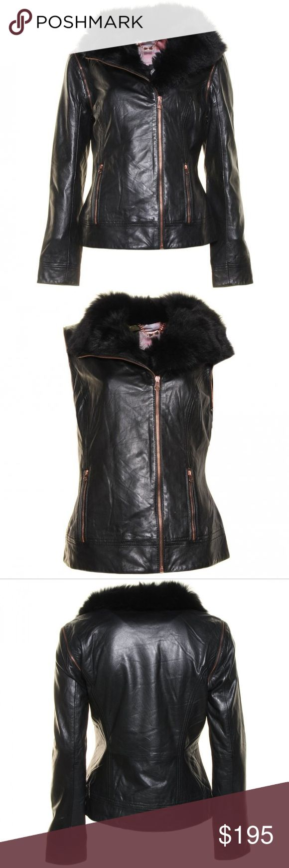 NWOT Ted Baker leather jacket Furrly detachable sleeves leather jacket by Ted Baker in black. The jacket is fitted with copper zippers, high fur collar, two vertical zipped pockets, a full zip closure and detachable sleeves. Ted Baker size 2 which translates to US size 6. Ted Baker Jackets & Coats