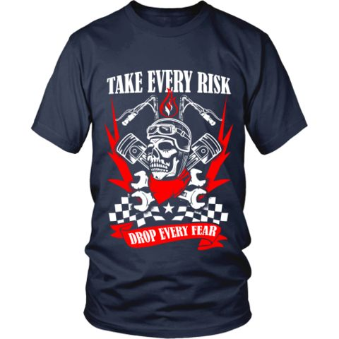 Motorcycle - 'Take Evey Risk' District Unisex Shirt