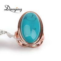 DUOYING Jóias da Mulher da Marca Rose Banhado A Ouro Big Blue Stone Anel Forma Oval Anéis de Dedo Para As Mulheres