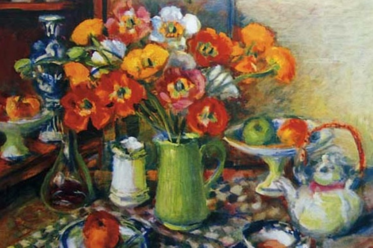 Margaret Olley ~ Poppies and checked cloth