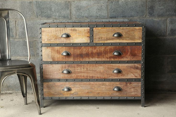 Restoration Hardware Style Industrial Chic Wood Dresser Beautiful Industrial And Metals
