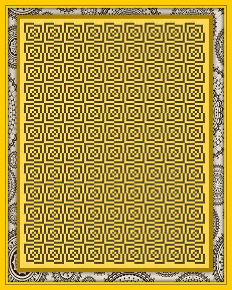 DIGITAL DOWNLOAD - Black / Gold Crochet Graph (Large) Optical Illusion - Great for c2c and sc crochet, Cross stitch, Beadwork & Knitting