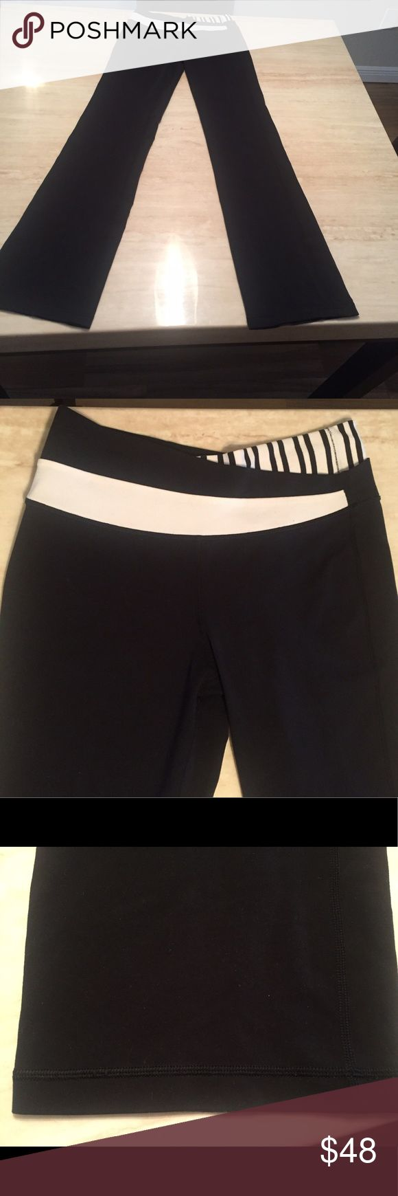 """Adorable Black/White Lululemon 6 Tall Yoga Pants This is an adorable pair of Authentic Lululemon Black and white striped yoga pants in a size 6 tall. These are in excellent condition and the waist stretches to 16"""" with a 35.5"""" inseam. Unless you are very tall the inseam  most likely will have to be altered. lululemon athletica Pants Track Pants & Joggers"""