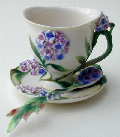 Forget Me Not Tea Cup and Saucer with Matching Spoon