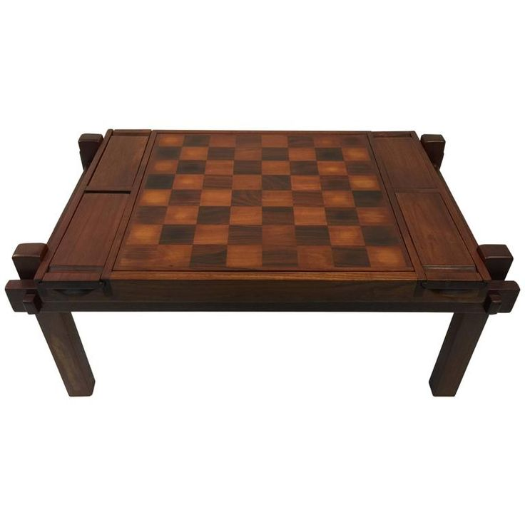 Fantastic Danish Modern Rosewood and Teak Game Table; Backgammon and Chess 1970