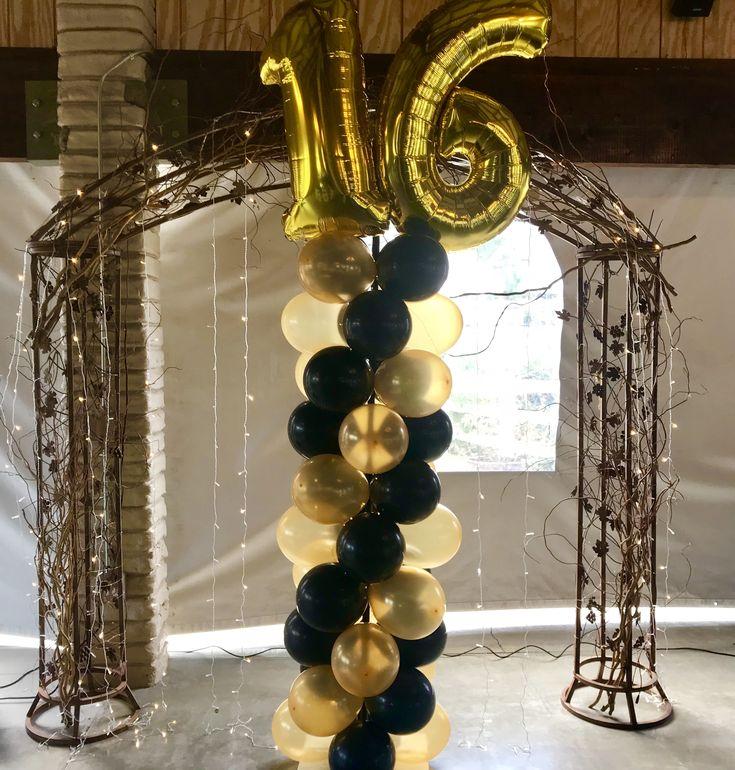 Sweet 16 Balloon Column! Black and gold balloon ideas! Black and gold party! Sweet 16 party ideas!