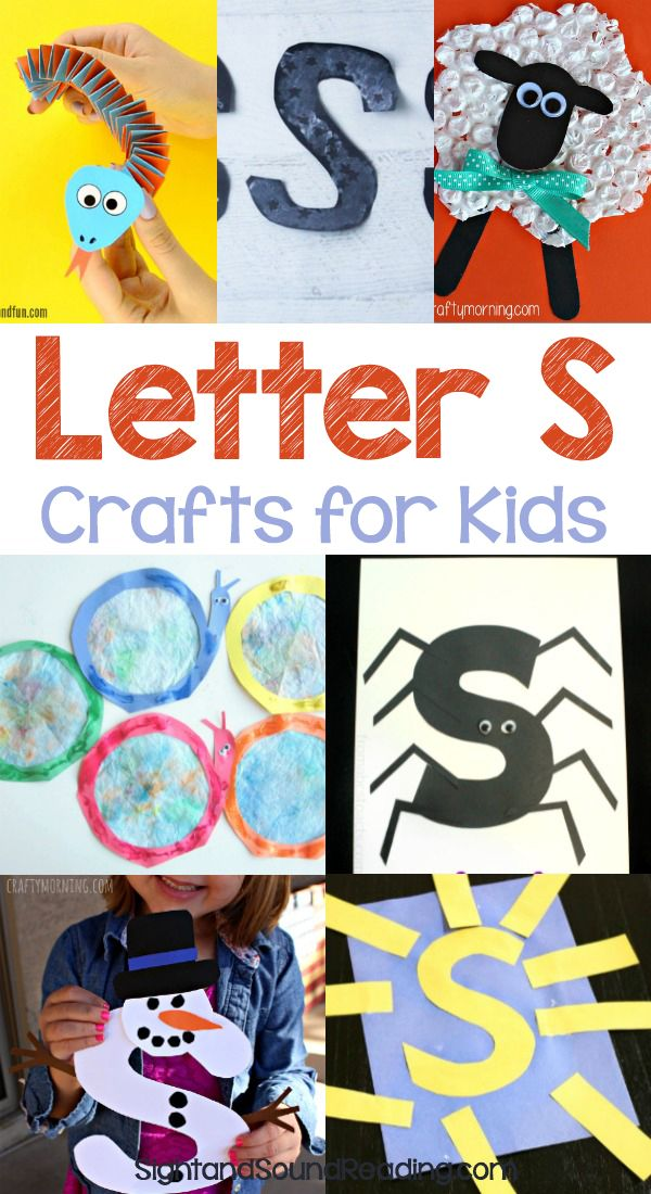 Letter S Crafts Letter S Crafts for preschool or kindergarten - Fun, easy and educational! Students will have fun learning and making these fun crafts!