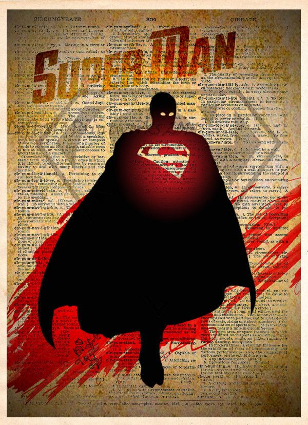 Superman art, Superman print, Vintage Silhouette print, Retro Super Hero Art, Dictionary print art