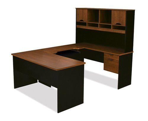 U-shaped Computer Desk with Hutch in Tuscany Brown and Black, http://www.amazon.com/dp/B007X5JOKW/ref=cm_sw_r_pi_awdm_IPA3sb1PX7AP6