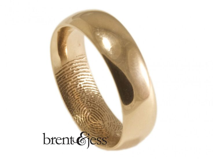Trendy Rose Gold Comfort Fit Low Dome Fingerprint Wedding Band with Interior Tip Print Custom handmade fingerprint jewelry by Brent uJess