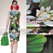 Top de Estilo Chino de Seda Pura Impresión Digital Azul de la Flor de Satén Elástico Tejido Textil Para Coser Ropa de Vestir 23 MM(China (Mainland))