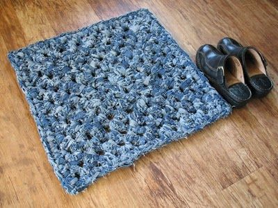 Granny square rug from upcycled denim jeans