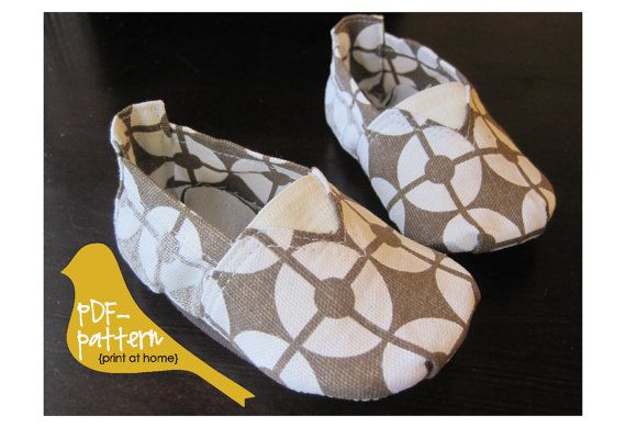 DIY Baby Tom Canvas Shoe PDF (INSTANT DOWNLOAD Sewing Pattern) sizes 0-6m, 6-12m, 12-18m, 18m-2T, 2T-3T, 3T-4T