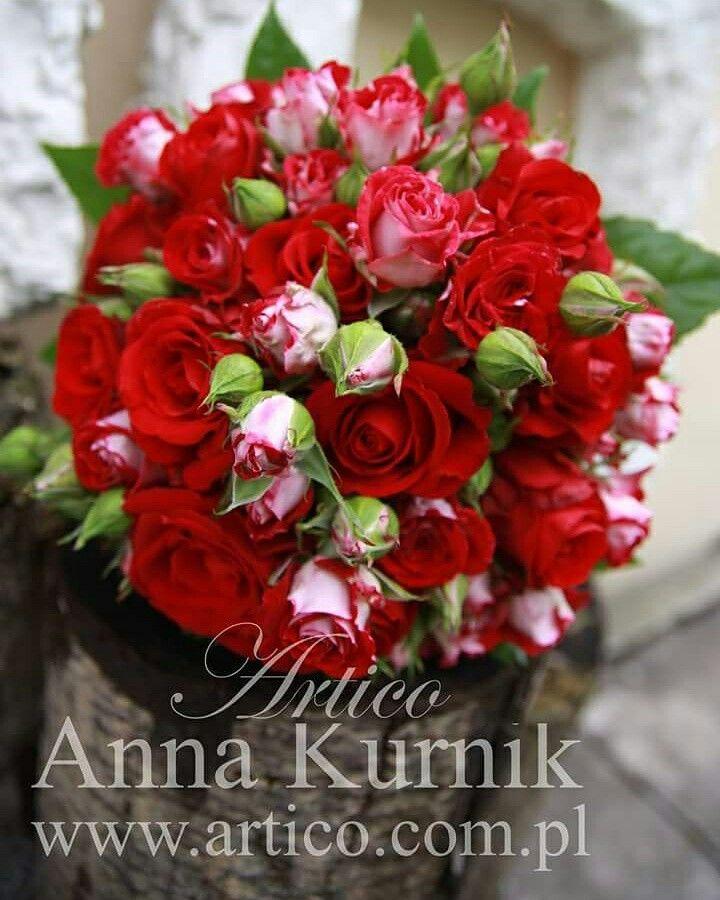 Bukiet ślubny z róż gałązkowych Bukiet ślubny z czerwonych róż www.facebook.com/artico.kwiaty
