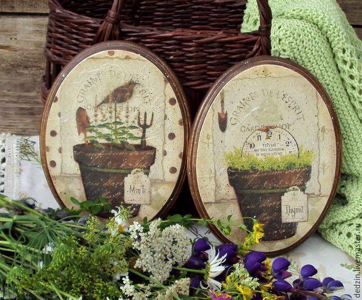 """Купить Комплект из двух панно """"Все в сад"""" - комбинированный, кантри, панно, картинка, декоративный элемент"""