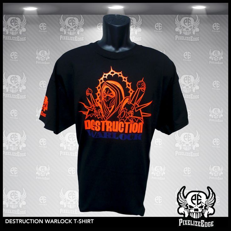 Destruction Warlock T-shirt  As a fellow warlock I represent the destruction spec even though i am not good at it. Inspired from one of my favorite games. I wear the Destruction Warlock T-shirt with Pride. $19.99