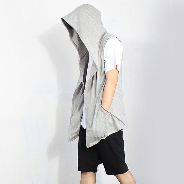 Hi-Street Sleeveless Hoodies For Men 2016 Autumn New Black Cloak Hooded man Streetwear Hip Pop So Cool hombre cotton coat XXXXXL