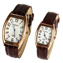 $6.38 Valentine WoMaGe Quartz Watch with Numbers Indicate Leather Watch Band for Couple (Brown)