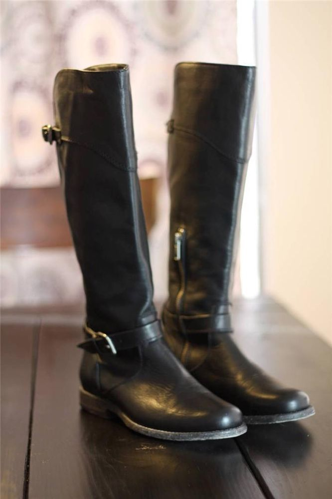 Frye Phillip Tall Riding Boots 76844 Side Zip Black