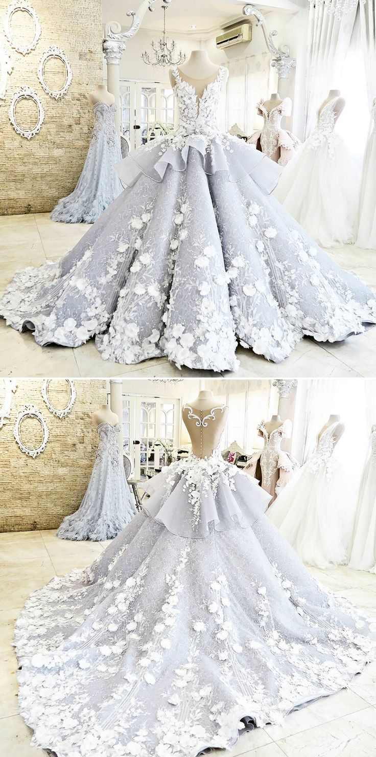 Blue wedding ball gown with white floral applique and pleated skirt // Pantone Color of the Year Serenity wedding inspiration