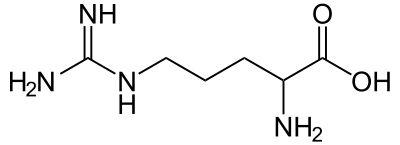 Skeletal formula of arginine