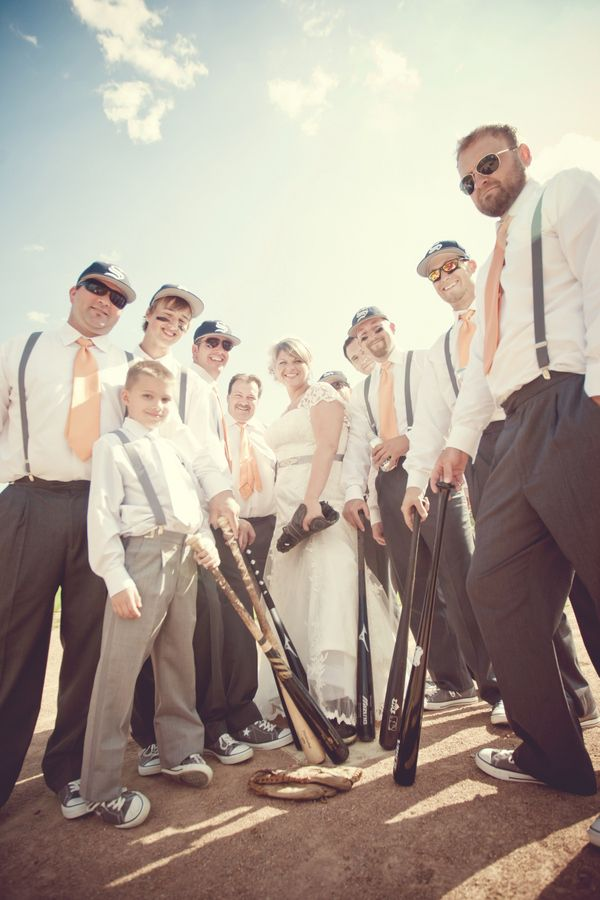 wedding party on baseball field