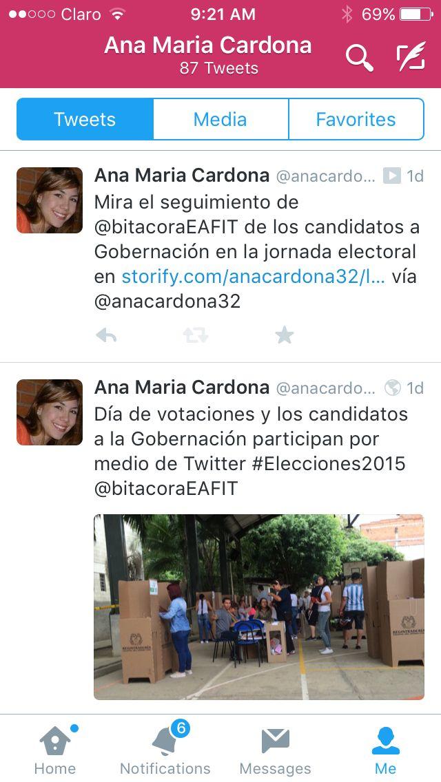 Algunos tweets desde el puesto de votación, cumpliendo con el deber ciudadano y realizando el seguimiento a los candidatos a la Gobernación 2015
