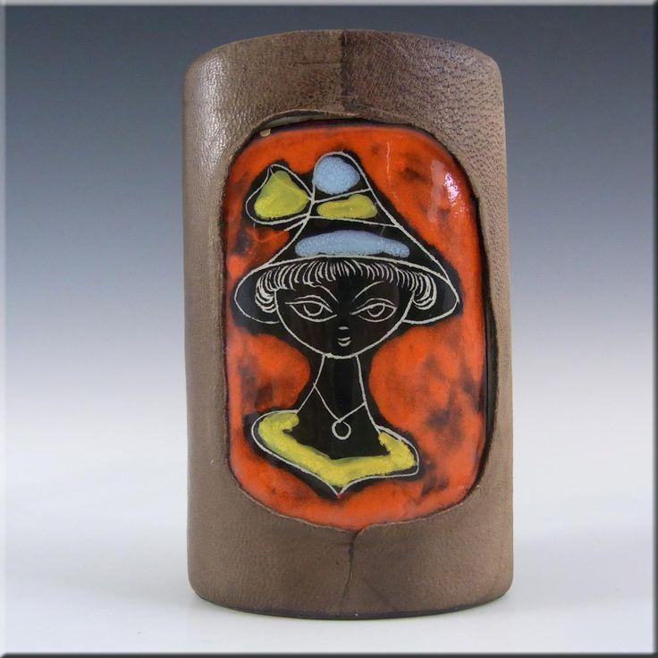 San Marino Italian Ceramic Pottery Vase w Leather Cover - £20.00