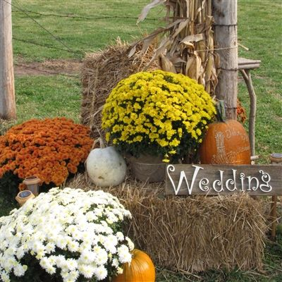 25 best ideas about fall wedding mums on pinterest fall for Bales of hay for decoration