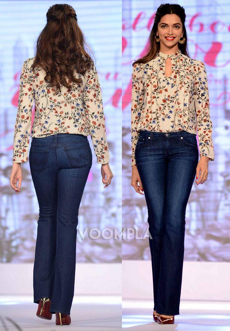 Deepika Padukone's sexy retro look in wide-leg jeans!! via Voompla.com